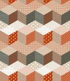 Seamless patchwork pattern in warm colors. Decorative zigzag ornament Stock Photography