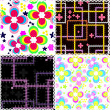 Seamless patchwork style pattern with flowers Royalty Free Stock Photo