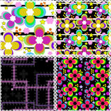 Seamless patchwork style pattern with flowers Stock Images