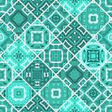 Seamless patchwork tile in aquamarine blue tones. Vector endless pattern Royalty Free Stock Photo