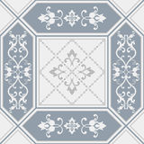 Seamless patchwork tile with damask pattern. In blue and beige stock illustration