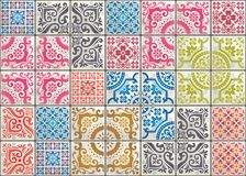 Seamless patchwork tile with Victorian motives. Majolica pottery tile, colored azulejo, original traditional Portuguese. Seamless patchwork tile with Victorian royalty free illustration