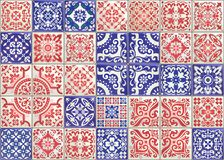 Seamless patchwork tile with Victorian motives. Majolica pottery tile, colored azulejo, original traditional Portuguese. Seamless patchwork tile with Victorian vector illustration