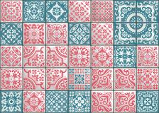 Seamless patchwork tile with Victorian motives. Majolica pottery tile, colored azulejo, original traditional Portuguese. Seamless patchwork tile with Victorian stock illustration