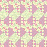 Seamless patchwork vector pattern with squared and triangular tiles in pink, yellow and green stock illustration