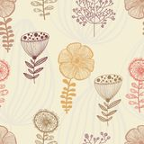 Seamless patern with abstract flowers nature. Hand drawn Stock Photos