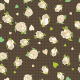 Seamless patern with beige roses on a brown background Royalty Free Stock Image