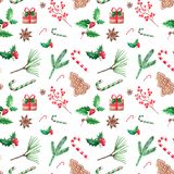 Seamless patern Christmas illustration, hand drawn watercolor. D. Esign for backgrounds, wallpapers and packaging stock illustration