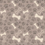 Seamless patern - pet paw print and bone Royalty Free Stock Photos