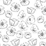 Seamless patern with poppies in graphic style Stock Images