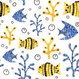 Seamless patten border with cartoon animals of the underwater world. Fish, sea, seaweed, ocean for the design of children`s