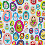 Seamless patten with Russian dolls on a blue background.  Stock Photo
