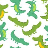 Seamless patter with funny crocodile. Vector illustration, eps Royalty Free Stock Photo