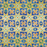 Seamless patter made of traditional azulejos tiles. Traditional azulejos tiles on facade of old house, Algarve, Portugal Stock Image