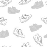 Seamless patter with shoes. Decorative background with  sport shoes Stock Image