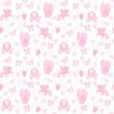 Seamless Pattern公主纺织品的与城堡,冠,蝴蝶,金刚石 女孩的抽象无缝的样式 图库摄影