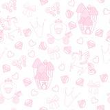 Seamless Pattern公主纺织品的与城堡,冠,蝴蝶,金刚石 女孩的抽象无缝的样式 免版税库存图片
