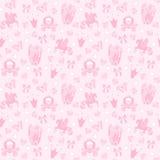 Seamless Pattern公主纺织品的与城堡,冠,蝴蝶,金刚石 女孩的抽象无缝的样式 库存图片