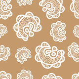 Seamless pattern. White doodle elements on beige background. Stock Photo