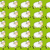 Seamless pattern — dancing sheep over green. Background Royalty Free Stock Images