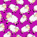 Seamless pattern — flying sheep. Seamless pattern — flying sheep over pink background Royalty Free Stock Image