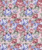 Seamless Pattern-013. Seamless Pattern - The rose garden in spring Stock Image