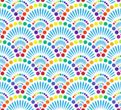Seamless pattern. Seamless rainbow, colored pattern looking like set of salute explosions Royalty Free Stock Photo