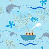 Seamless pattern. Vector children's sea seamless pattern Royalty Free Stock Image
