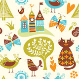 Seamless pattern. With various fairy elements Royalty Free Stock Photography
