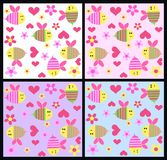 Seamless pattern. In four different color combinations for baby clothes or textilies and interiors Stock Photography