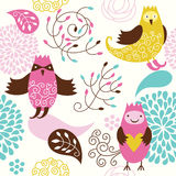 Seamless pattern. With cute birds Royalty Free Stock Images