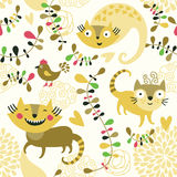 Seamless pattern. With funny cats Royalty Free Stock Images
