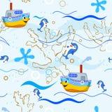 Seamless pattern. Children's sea seamless pattern Royalty Free Stock Photo