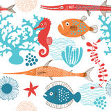 Seamless pattern. With marine life Stock Images