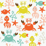 Seamless pattern. With marine life Royalty Free Stock Photo