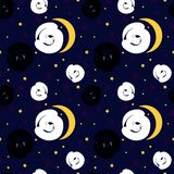 Seamless pattern. Of the slip white and black cats Stock Photo