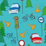 Seamless pattern. Seamless background with cars and bicycles Stock Photography
