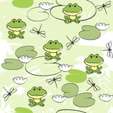 Seamless pattern. Sweet seamless pattern with frogs and dragonflies Stock Images