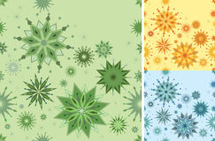 Seamless pattern in 3 colors. Ornate spiky seamless pattern in three different colorways.  It can be repeated endlessly – use for tiles, wallpaper Stock Photography