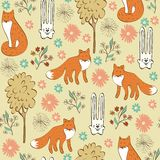 Seamless pattern. Children seamless pattern with foxes and hares Royalty Free Stock Image