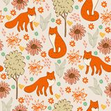 Seamless pattern. Children hand drawn seamless pattern with foxes Royalty Free Stock Images