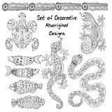 Seamless pattern with aboriginal design. Decorative background with ornamental doodle  animals Stock Photos