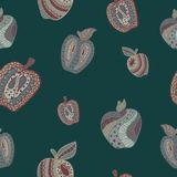 Seamless pattern with abstract apples in doodle style. Seamless pattern with abstract apples in doodle style on the blue background Stock Photos