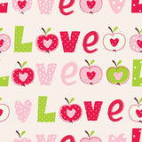Seamless pattern with abstract  apples and letters Stock Photos