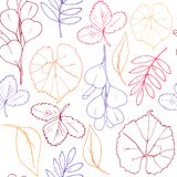 Seamless pattern of abstract of autumn leaves for white background stock photos