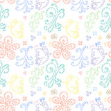 Seamless pattern abstract background with butterflies and flowers. Seamless background pattern curls. Stock Images