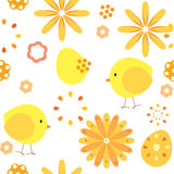 Seamless pattern abstract background chickens and flowers. Vector seamless pattern abstract background chickens and flowers Royalty Free Stock Image