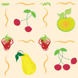 Seamless pattern with abstract berries and fruits Stock Photos