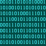 Seamless pattern with abstract binary code, digital matrix backg. Round, cyberspace Stock Photo