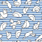 Seamless pattern with abstract birds on striped background. Simple line design. Funny seagulls in the marine style Royalty Free Stock Photos
